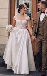 Jewel Satin Lace Sleeveless Brush Train Button Illusion A Line Wedding Dress