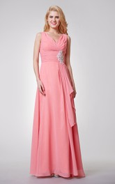 Floor-Length Sassy Back High-Waist V-Neckline Chiffon Bridesmaid Dress