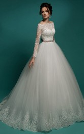 Illusion-Sleeve Lace Appliqued Appliques Floor-Length A-Line Tulle Gown