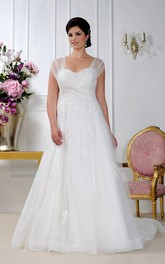 ethereal Cap-sleeve A-line Tulle Wedding Dress With Ruching And Appliques