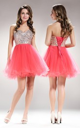 A-Line Lace-Up Tulle Ruffled Jeweled Short Mini Strapless Sweetheart Sleeveless Dress