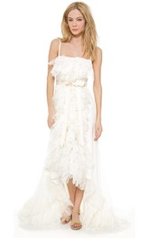 A-Line Ruffled Spaghetti High-Low Organza Dress