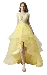 Cute Adorable Sleeveless High-low Beaded Dress With Cascading Ruffles And Keyhole