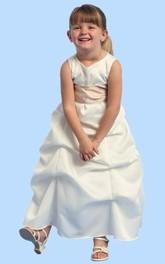 Satin Ruched Ankle-Length Flower Girl Dress