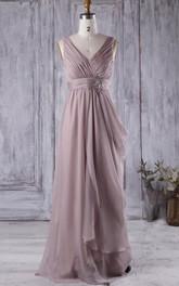 V-neck Sleeveless draped Bridesmaid Dress With Jeweled Waist