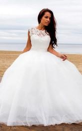 Bateau-Neck Deep-V Back Tulle Ball-Gown Princess Sleeveless Dress