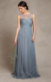 country style Tulle Sleeveless Bridesmaid Dress With Criss cross