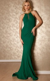 Sleeveless Jersey Sheath Dress With Beaded neckline