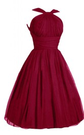 Haltered short A-line Chiffon Dress With Ruching