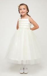 Tulle Embroidery Bowknot Tea-Length-Slit Flower Girl Dress
