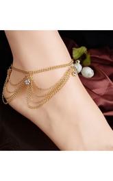 Summer Fashion Casual Multi-layered Chain Tassel Flash Diamond Women Anklet 27Cm