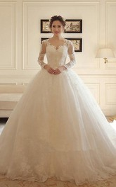 Romantic Lace and Tulle Scalloped Long Sleeve Ball Gown Wedding Dress