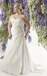 Strapless side-draped A-line plus size wedding dress With Sweep Train