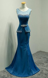Fishtail Rhinestone Peplum Sleeveless Scoop-Neckline Gown
