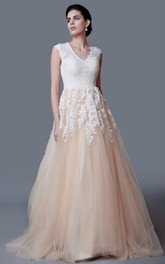 Lace Cap Sleeves Wedding A-Line Modest Long Gown