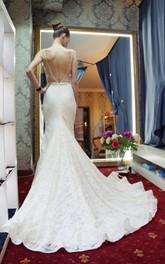Wedding Rhinestone Floor-Length Tail Mermaid Jewel-Neckline Gown