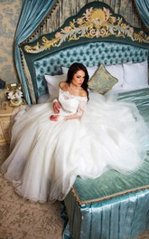 Off-the-shoulder Lace Illusion Long Sleeve Tea-length Ball Gown Wedding Dress With Jeweled Waist
