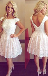 Short Sleeve A-line Short Mini Bateau Beading Pleats Lace Homecoming Dress