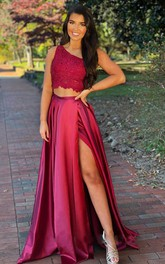 Two Piece Satin Lace One-shoulder Sleeveless Floor-length Formal Dress With Split Front