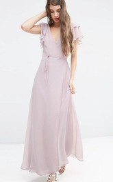 V-neck Poet-sleeve Chiffon Ankle-length Dress