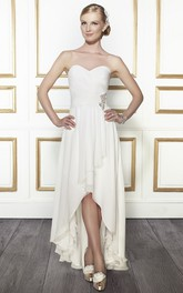 Sweetheart High-low Criss cross Wedding Dress With Draping