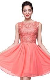 Sleeveless Short Chiffon Lace Lovely Homecoming Dress