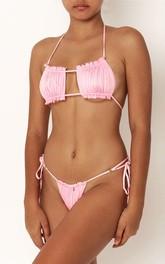 Plain Halter Tie Side Ruched Bikini Set