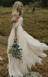 Ethereal Sweetheart Off-the-shoulder Chiffon Floor Length Bridal Gown