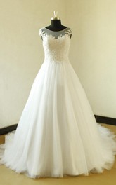 A-Line Elegant Jewel Cap-Sleeve Bateau-Neckline Bridal Dress