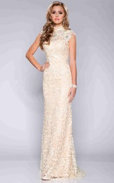 High Neck Sheath allover Lace Dress With Zipper back