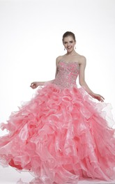 Sweetheart Jeweled Ruffled Strapless Long-Sleeve Lace-Up Organza Ball Gown