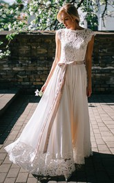 Modest A Line Short Sleeve Floor-length Bateau Chiffon and Lace Wedding Dress with Ribbon