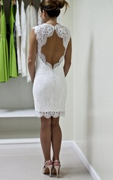 Queen Anne Neckline Scalloped Keyhole Back Knee-Length Custom Gown