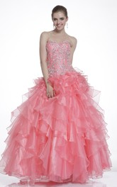 Ankle-Length Jeweled Ruffled Sweetheart Strapless Lace-Up Organza Ball Gown