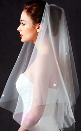 Simple Tulle Elbow Wedding Veil with Flower Appliques