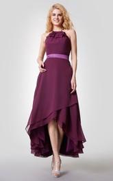 Bridesmaid High-Low Halter Dress