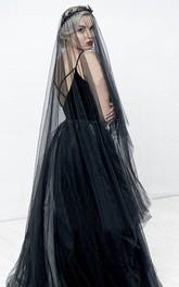 Simple Korean Style Bride Black Soft Tulle Veil