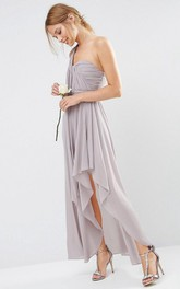 One-shoulder Sleeveless Chiffon Bridesmaid Dress With Split Front And Ruching