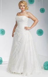 Strapless A-line side-ruched plus size wedding dress With Corset Back