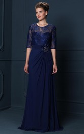 Jewel-Neck Lace Half Sleeve Chiffon Dress With Draping