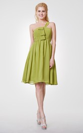 Greek Style One-shoulder Short Chiffon Dress With Ruched Bodice
