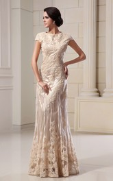 Column Lace Appliqued High-Neckline Romantic Floor-Length Dress