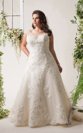 Scoop-neck Sleeveless A-line plus size wedding dress With Appliques And Illusion