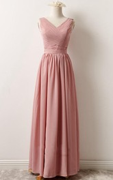 V-neck Sleeveless Chiffon Floor-length Bridesmaid Dress With Zipper back