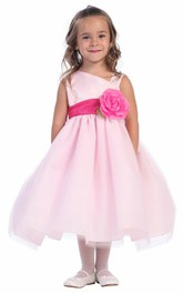 Floral Satin Layered Tea-Length Tulle Flower Girl Dress