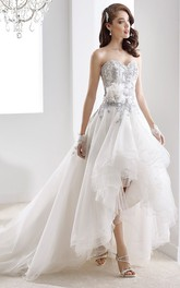 Sweetheart High-low A-line Ruffled Wedding Dress With Appliques And Court Train