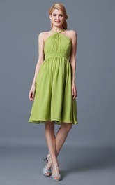 Fairy Halter Neck Sleeveless A-line Chiffon Dress With Empire Waist