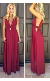 Burgundy Es Long Chiffon Sleeveless Beautiful Formal Gown