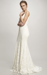 Spaghetti Lace V-neck Sleeveless Wedding Dress With Sweep Train