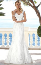 casual Cap-sleeve Mermaid/Trumpet Wedding Dress With Illusion And Appliques